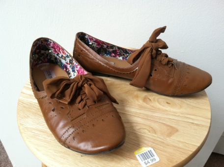 brown flats with silky laces